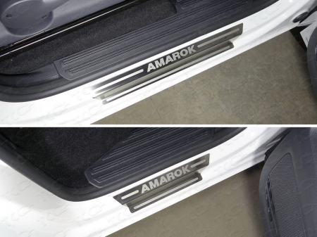 Volkswagen Amarok 2016-Накладки на пороги (лист шлифованный надпись Amarok)